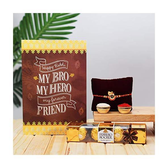 Archies® Laddu Gopal Red Beads Rakhi| Best Wishes Greeting Card | 4 pcs.Pack Ferrero Rocher | Roli Chawal for Tilak, for Rakshabandhan Festival, for Bhaiya, Bro, Bhai, Brother.