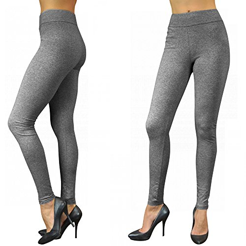 Womens Basic Cotton Full Length Grey Leggings Spandex Pan...