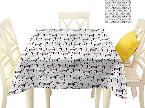 - WilliamsDecor Tassel Tablecloth Dog,Dachshund Silhouettes Dots Jacquard Tablecloth W 70
