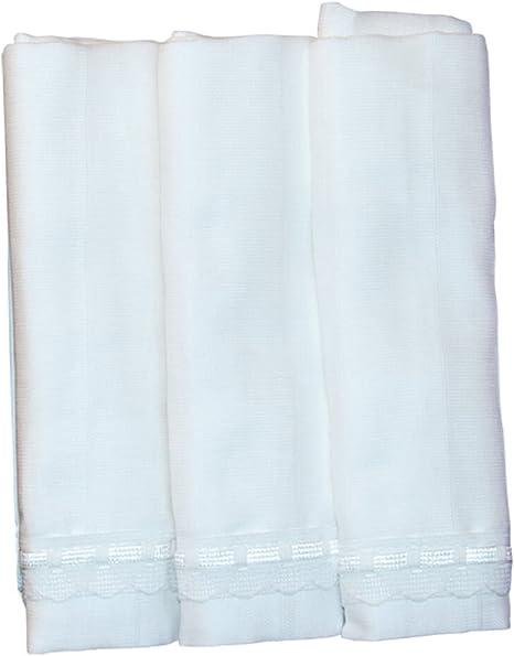 Pack de 3 Gasas Muselinas Lisas con Puntilla, 100% algodón - Color Blanco: Amazon.es: Bebé