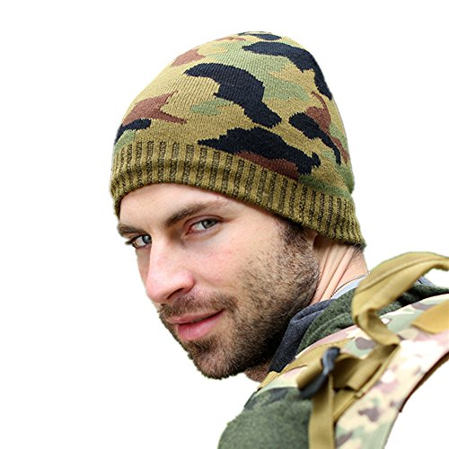 (Home Prefer Men's Winter Outdoor Watch Hat Camo Knit Beanie Cap Army Green )