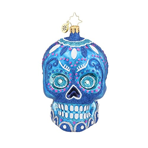 New Home Glass Ornament - Christopher Radko Blue La Calavera Day of the Dead Skull Glass Christmas Ornament - 4.5