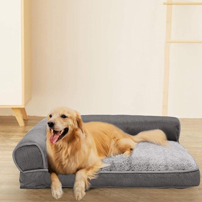 Cama perro Sofá de Lujo para Perros Gris, Grande, Indestructible, Gruesa, Personalizada, Gato ortopédico, Cama con cojín, Lavable, 107 × 90 × 29 cm: ...