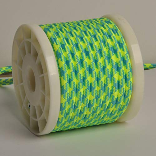 32.5ft Round 18/2 Rayon Covered Wire,DIY Antique Industrial Fabric Electrical Cloth Lamp Antique Industrial Electrical Cloth Cord,Vintage Style Lamp Cord strands UL listed(Yellow Green) (Rayon Wire Antique)