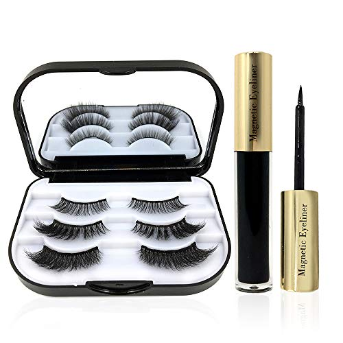 XinDio Magnetic Eyelashes with Eyeliner Set, 3 Pairs Different 3D Magnetic Eye Lashes, Easy to use without using Tweezer