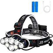 #LightningDeal Rechargeable Headlamp, Foxdott 8 LED Headlamp Flashlight with White Red Lights,8 Modes USB Rechargeable Waterproof Head Lamp for Outdoor Camping Cycling Running Fishing, Head Lamps for Adults