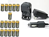 Ultimate Arms Gear 16pc CR123A 3V 1200 mAh Lithium Rechargeable Batteries Battery Charger Kit Universal 110/220V Rapid Wall Outlet & 12V Car Lighter Plug Adapter ULTRAFIRE Flashlight Light