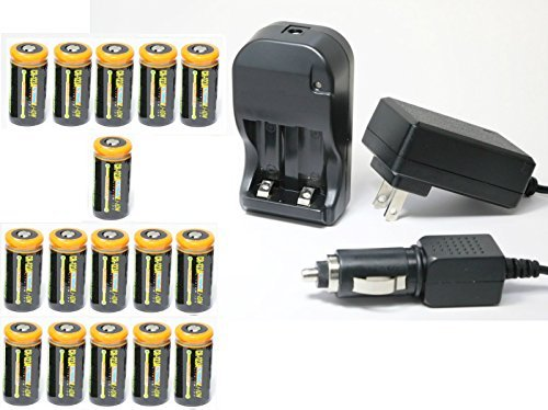 Ultimate Arms Gear 16pc CR123A 3V 1200 mAh Lithium Rechargeable Batteries Battery Charger Kit Universal 110/220V Rapid Wall Outlet & 12V Car Lighter Plug Adapter ULTRAFIRE Flashlight Light by Ultimate Arms Gear