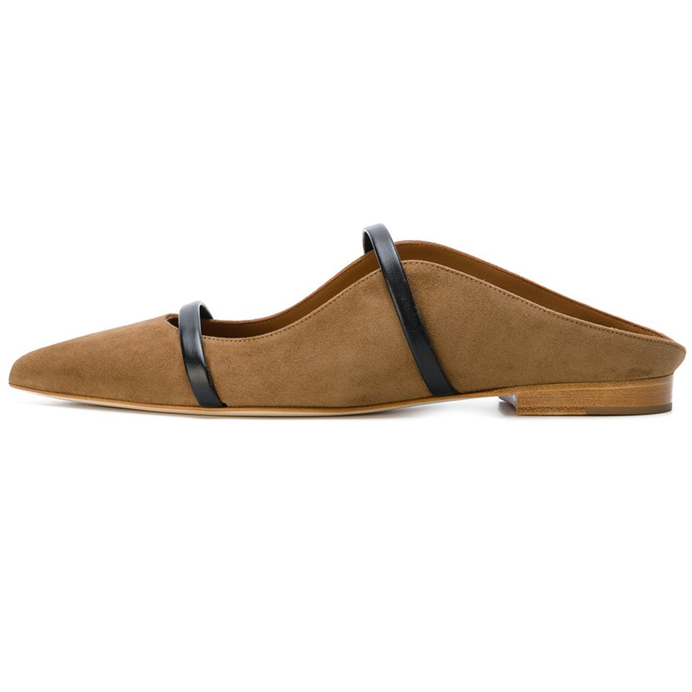 Comfity Mules for Women, Pointed Toe Slippers Two Narrow Single Band Slides Backless Dress Flats 8 M US