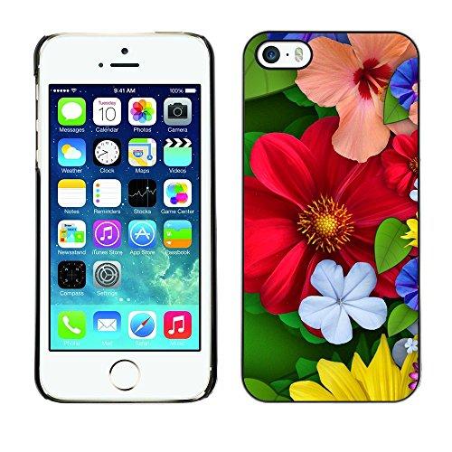 TopCaseStore / caoutchouc Hard Case Housse de protection la Peau - Floral Spring Colorful Blossom Red Flowers - Apple iPhone 5 / 5S