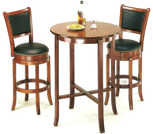 York Cherry Pub Table Set With 2 Leather Like Chairback