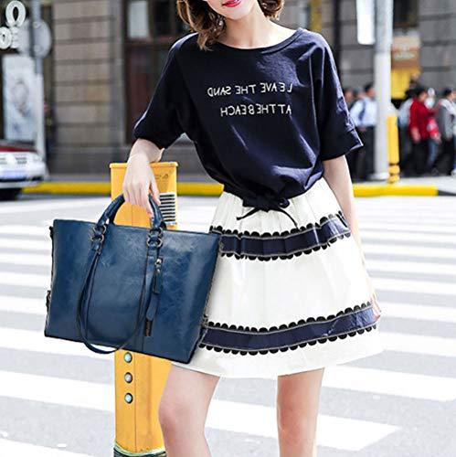 Sacs Jaune Cuir Cartable portés épaule Sacs portés Faux à Sacs Sacs Sacs Femme main Bleu main DEERWORD bandoulière awZHxvHq