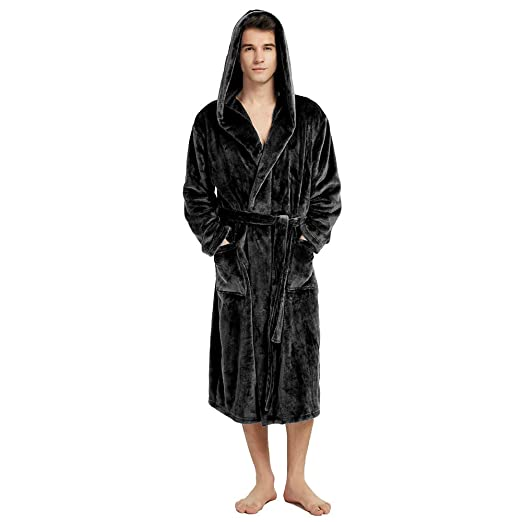 9c025fae62 Mens Fleece Hooded Robe Plush Bathrobe Long Terrycloth Black 1X 2X ...