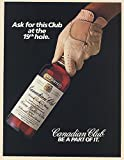 1985 Canadian Club Whisky Bottle Ask for this Club at the 19th Hole Golf Print Ad (66654)