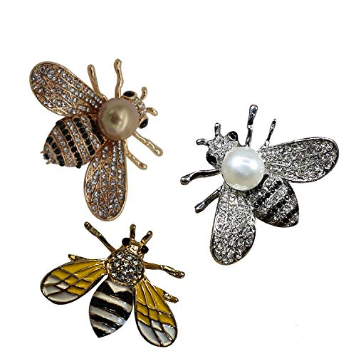 ZUOZUOYA Lovely Honey Bee Brooches - 3 Pcs with Gold,Silver and Yellow Tone Insect Themes - Fashion Mother of Pearl Brooch Pins - Great for Wife,Sisters and Friends]()