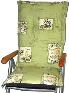 cojín silla de jardín,cojin,pad para sillas de resped// longitud total acera de 120cm//ancho 52cm// espesor 7cm