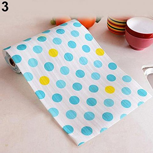 300cm Cute Polka Dots Shelf Contact Paper Cabinet Drawer Liner Kitchen Table Mat+blue point