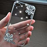 S5 Case, JCmax Luxurious Handmade Bling Shiny Diamond Clear Hard PC Plastic Durable Cover Rubberize [Non Slip] Slim Fitted Skin for Samsung Galaxy S5 - Flower