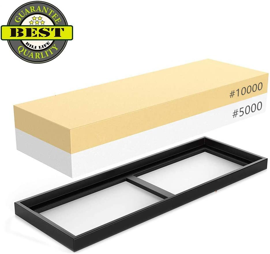 Whetstone 5000/10000 Grit Sharpening Stone, VECU 2 Side Polishing Kit Professional Waterstone Sharpener for Kitchen Cutlery and Outdoor Blades Polishing Tools, Waterstone Rubber Stone Holder Included