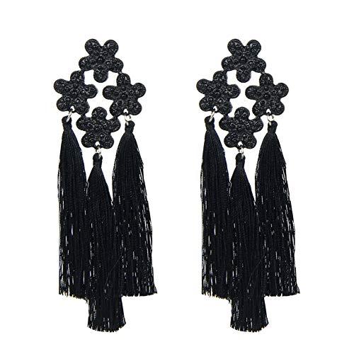 RHINEYOKA Statement Tassel Earrings - Bohmian Dangle Drop Earrings for Women Grils,Show Your Most Special Self at Parties with Friends (Black Flowers) ()