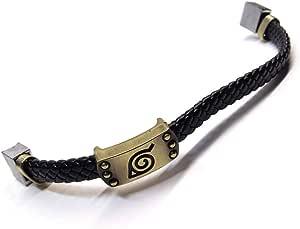 Bracelet Naruto Anime Itachi Sasuke Black Leather - Unisex