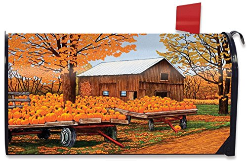 Briarwood Lane Pumpkinville Fall Magnetic Mailbox Cover Autumn Wagon Barn Standard by Briarwood Lane