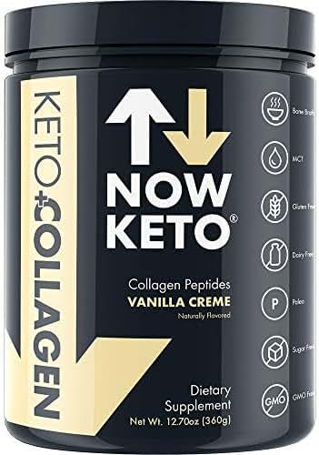 NOW KETO® Keto Collagen™ Peptides w/Keto MCTs Powder (Medium Chain Triglycerides) - Keto Diet - Great Fat & Fiber Source, Great for The Ketogenic Diet & Ketosis (Vanilla, 11.5oz)