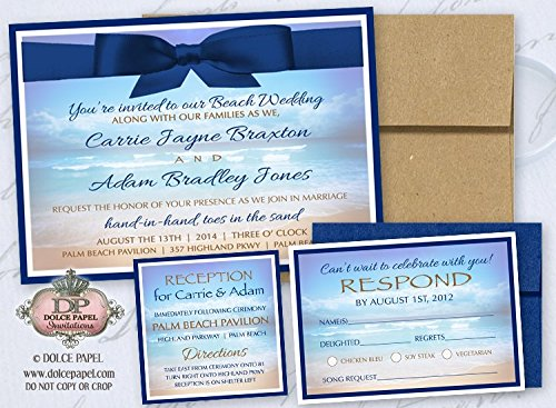 10 Modern Navy Blue and Sand Beach Ocean Wedding Invitations Set (Sand Wedding Invitation)
