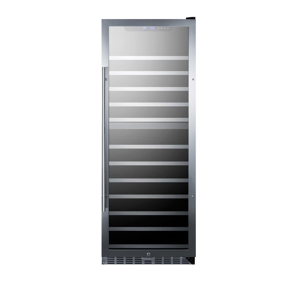 Summit SWC1380D 24'' Dual Zone Wine Cooler with 122 Bottle Capacity LED Lighting Factory Installed Lock Active Carbon Filter in Stainless