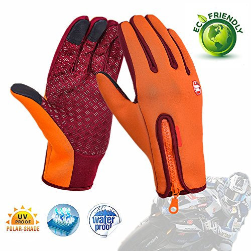 Chickwin Gloves Touch Screen Windproof Outdoor Casual Full Finger Multifunctional Gloves (Orange, XL)