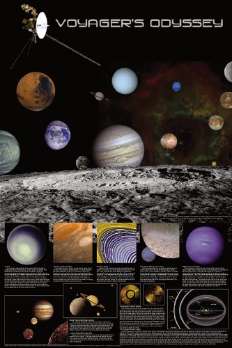 Laminated Voyager's Odyssey Space Exploration Poster
