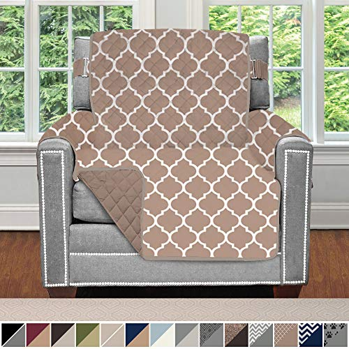 Sofa Shield Original Patent Pending Reversible Chair Protector for Seat Width up to 23 Inch, Furniture Slipcover, 2 Inch Strap, Chairs Slip Cover Throw for Pets, Kids, Cats, Armchair, Quatrefoil Mocha