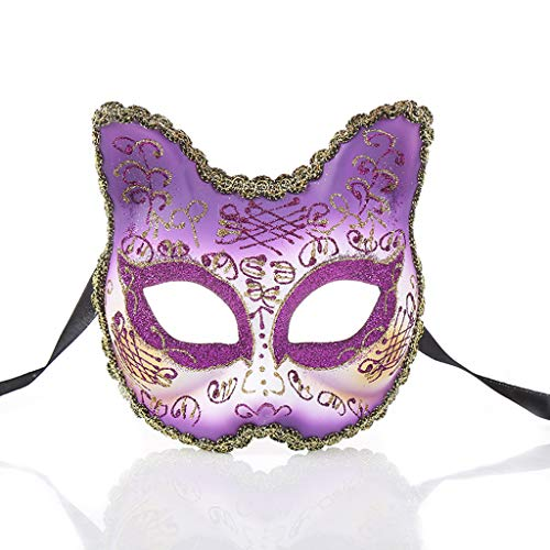 Venetian Kitten Half face mask, Creative Masquerade Halloween Party New Plastic Show mask (Purple) -