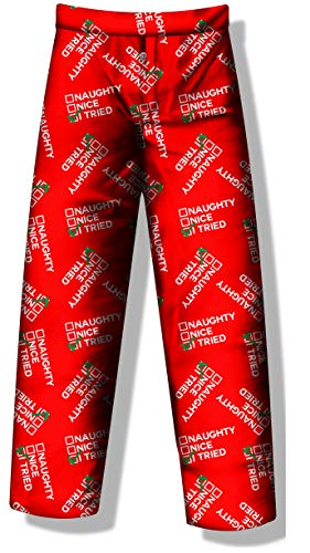 Pants Naughty (Fun Boxers Christmas Pajama Pants Funny Xmas Sleepwear Naughty Nice I Tried (Medium))