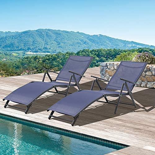 Tuoze Outdoor Chaise Lounge Chairs Patio Furniture Adjustable Folding Recliner Chair Set of 2 Blue