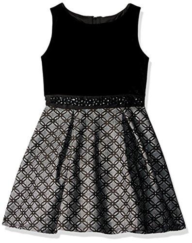 Amy Byer Spandex Skirt - Amy Byer Girls' Big Sleeveless Velvet Bodice with Bonded Lace Skirt, Silver, 8