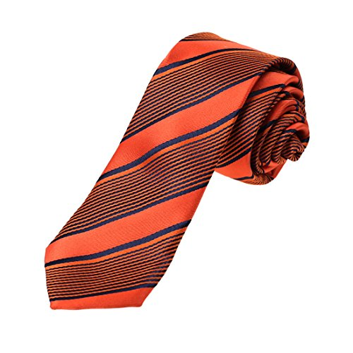 Dan Smith DAE7A22D Navy Orange Red Stripes Microfiber Skinny Tie Formal Wear Narrow Tie
