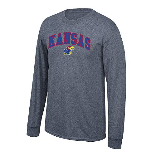 Elite Fan Shop NCAA Men's Kansas Jayhawks Long Sleeve Shirt Dark Heather Arch Kansas Jayhawks Dark Heather - Kansas Ncaa University