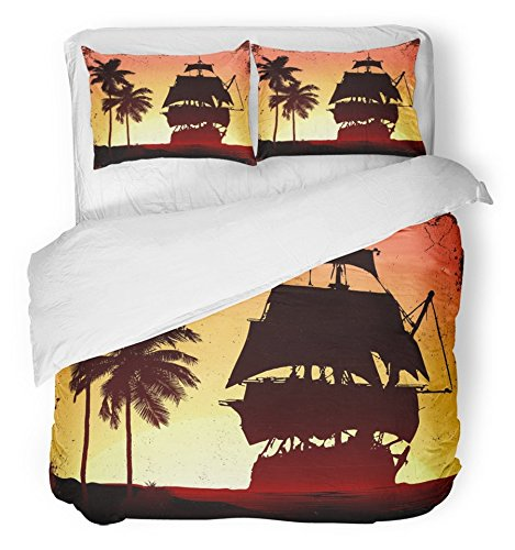 Emvency Bedsure Duvet Cover Set Closure Printed Navy Adventure Grunge Mist Pirate Ship in Ocean Beach Sail Sea Tall Fog Brig Decorative Breathable Bedding Set With 2 Pillow Shams King Size