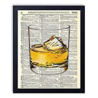 Whiskey Glass Man Cave Upcycled Wall Art Vintage Dictionary Art Print 8x10 inches / 20.32 x 25.4 cm Unframed