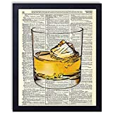 Whiskey Glass Man Cave Vintage Wall Art Upcycled Dictionary Art Print Poster 8x10 inches, Unframed