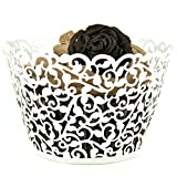 Evalley 24/60/100/120pcs White Artistic Filigree Little Vine Lace Laser Cut Cupcake Wrapper Liner Baking Cup Muffin Case Bake Cake Box Decor Trays for Wedding Birthday Party (60)