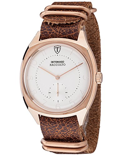 DETOMASO Raccolto Vintage Mens Wrist Watch Quartz Rose Gold Stainless Steel Casing Brown Leather Strap DT1077-A