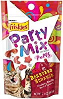 Friskies Treats Party Mix Puffs Variety Bundle Barnyard Bonanza, Island Paradise, and Meow Royale Flavor Cat Treats, 2.1-Ounce