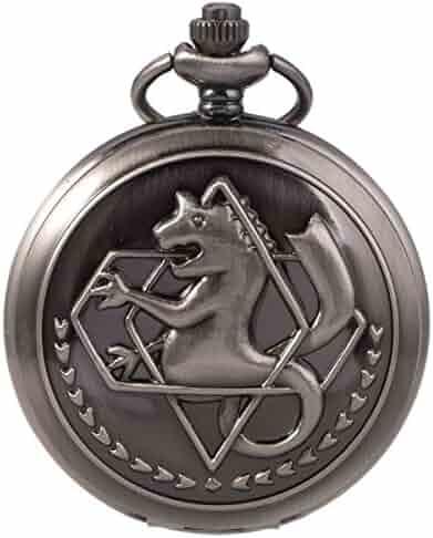 SIBOSUN FullMetal Alchemist Edward Elric Anime Black Pocket Watch With Chain Box