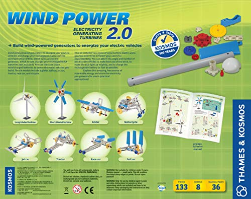 Thames & Kosmos Wind Power 2.0 Science Experiment Kit | Build Wind-Powered Generators to Energize Electric Vehicles | 3-Foot-Tall Long-Bladed Turbine | Experiments in Renewable Energy by Thames & Kosmos (Image #1)