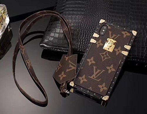 GUUCLA Trunk Case for iPhone XR,Fashion Elegant Luxury PU Leather Wallet Monogram Style Full Protection Cover Case with Lanyards Compatible for Apple iPhone XR 6.1