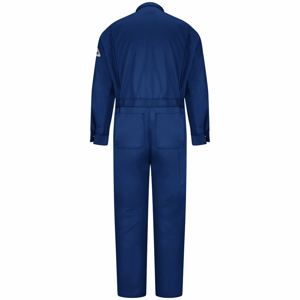 Bulwark Flame Resistant 9 oz Cotton/Nylon Excel FR ComforTouch Regular Premium Coverall with Concealed Snap Closure On Sleeve Cuff, Navy, Size 44 by Bulwark FR (Image #3)