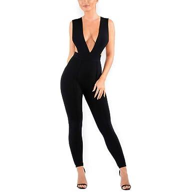1564440a28ac Amazon.com  HLBandage Deep V Neck Sexy Rayon Clubware Bandage Jumpsuit  Bodycon Romper Pants  Clothing