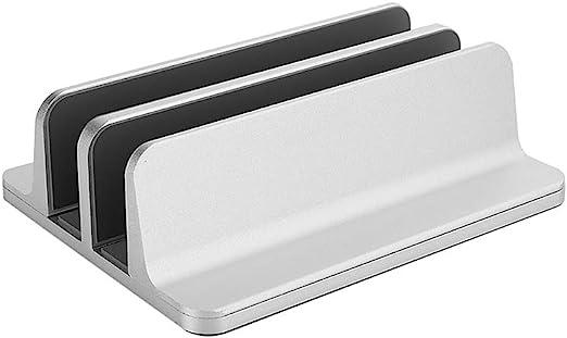 Negaor 縦型ラップトップスタンドアルミ合金ラップトップスタンド調整可能な本棚ラップトップタブレットホルダー2スロットラップトップブラケットシルバー